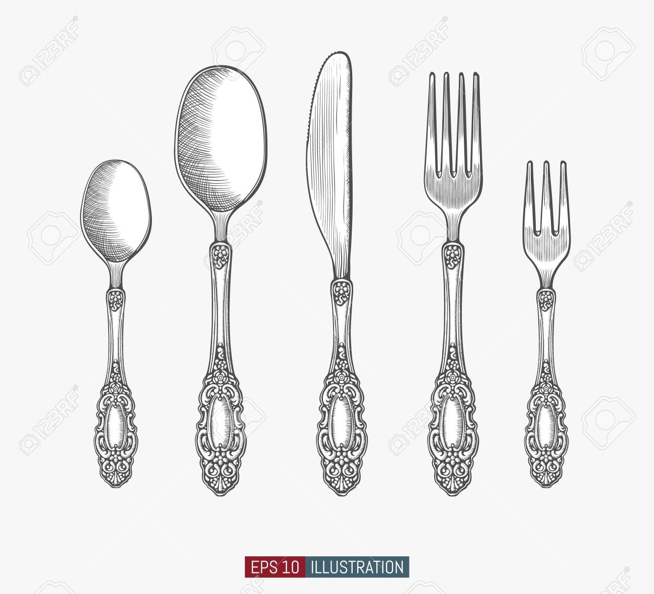 Hand drawn spoons, forks and knifes. Engraved style vector illustration. Elements for your design works. - 153687066