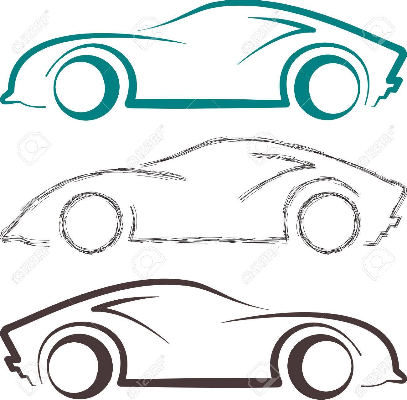 Sport-Auto-Skizze Und Strichzeichnungen Können Als Logo Und Symbol ...