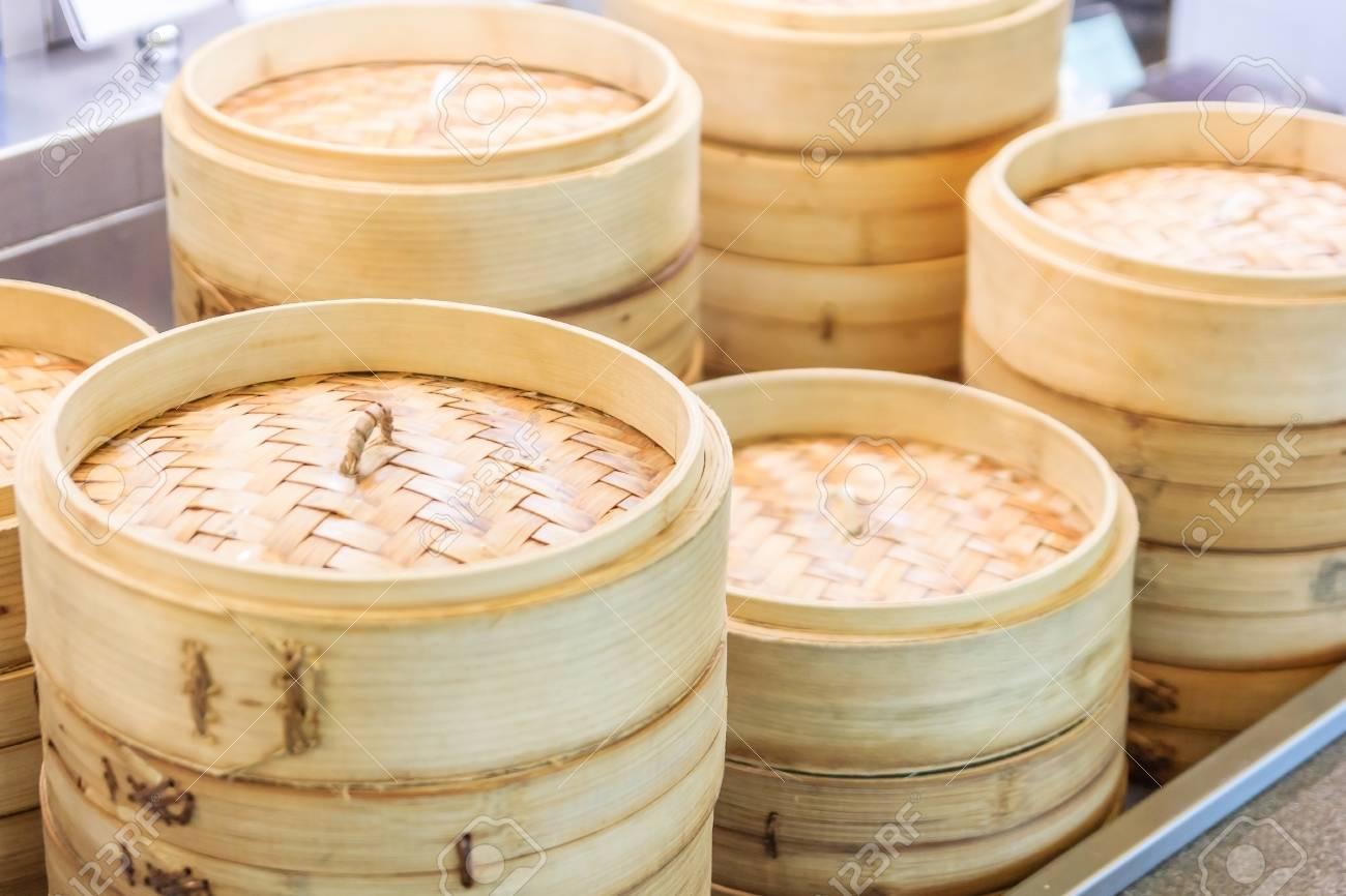 Pila Di Vapore Cinese Di Bambù, Somma Dim In Vapore Di Bambù, Cucina ...