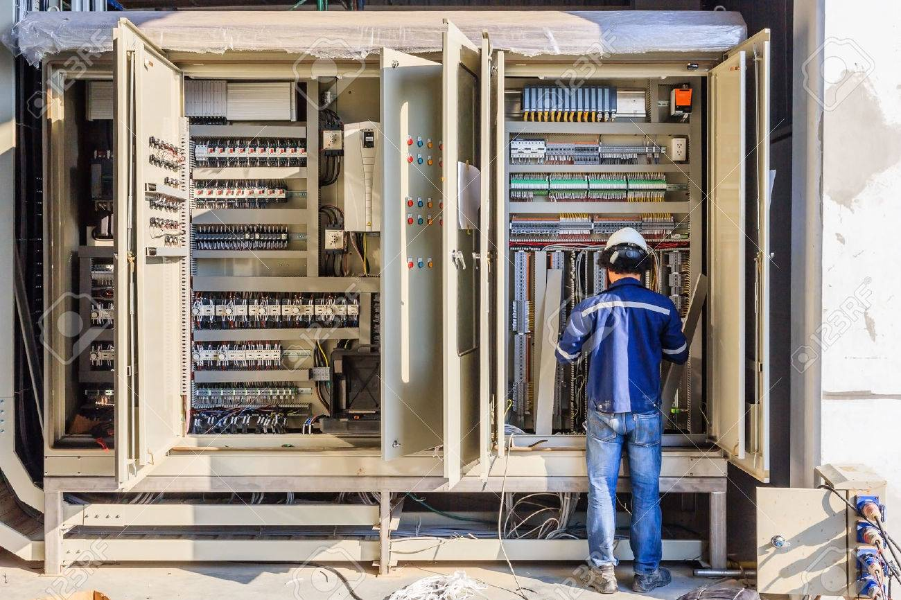 instrument technician on the job check wiring on plc cabinet stock Wiring Under Cabinet instrument technician on the job check wiring on plc cabinet stock photo 72727658