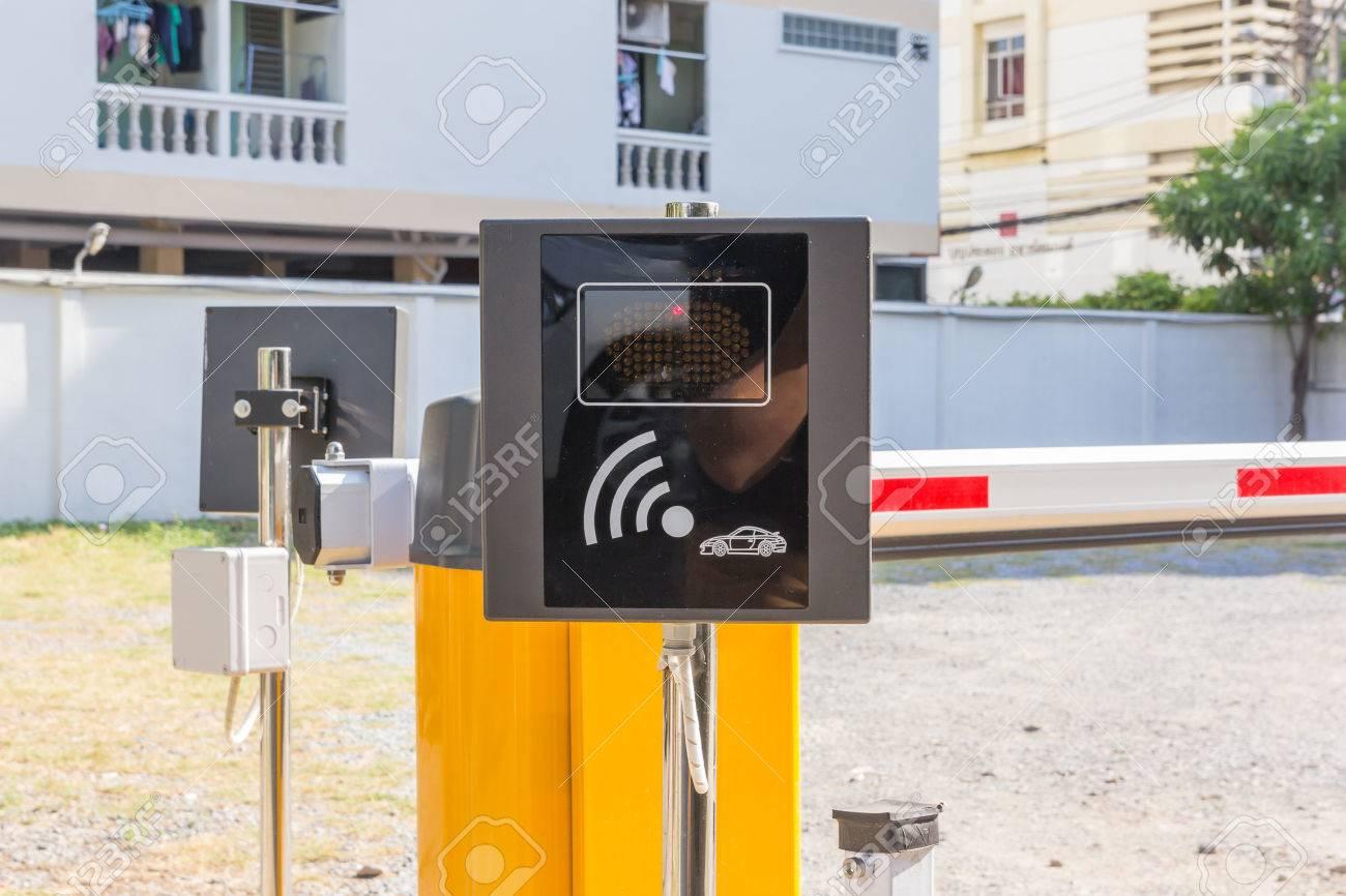 Automatic Sensor Gate On The Car Parking. Entrance Access Security ...