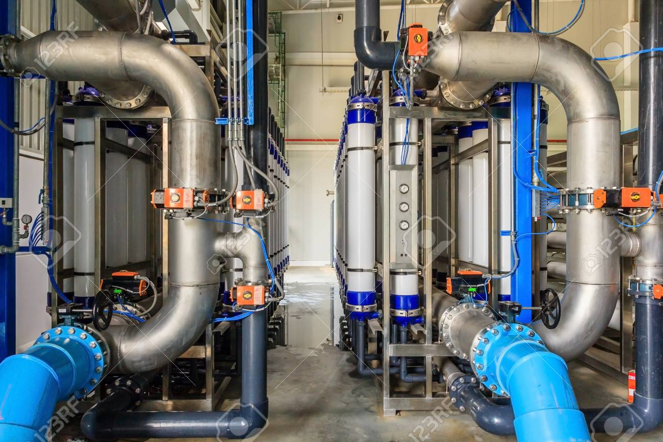 Large Industrial Water Treatment And Boiler Room. Shiny Steel ...