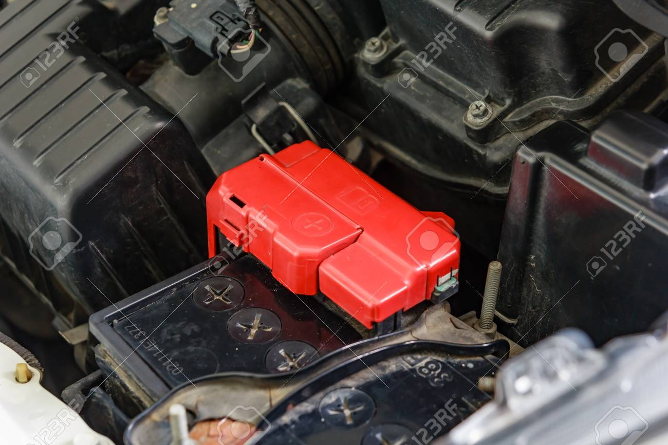 Car Battery Terminal With Red Positive Polarity Stock Photo Picture