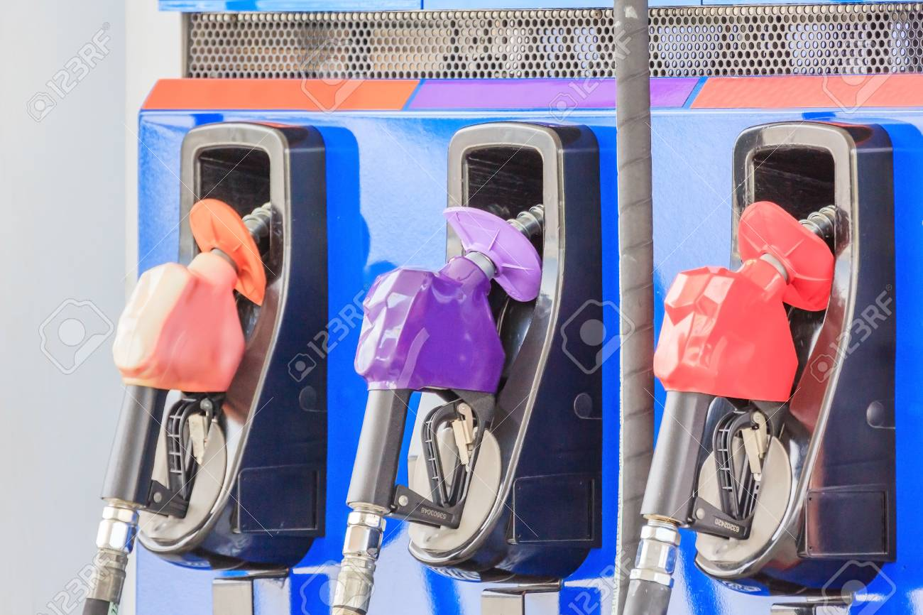Fuel pumps/Fuel nozzle at gas station in Thailand, Closed up
