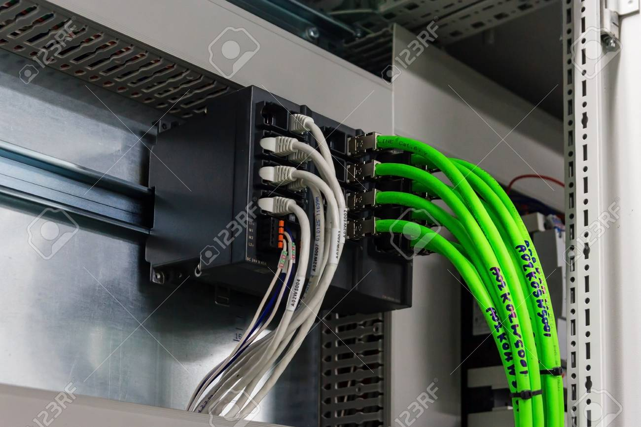 [QNCB_7524]  Wiring PLC Control Panel With Wires In Cabinet For Machine Industrial..  Stock Photo, Picture And Royalty Free Image. Image 84939774. | Industrial Machine Wiring |  | 123RF.com