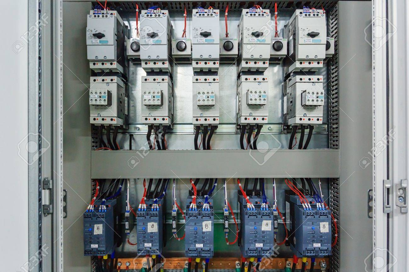 Wiring PLC Control Panel With Wires In Cabinet For Machine Industrial Factory Stock Photo