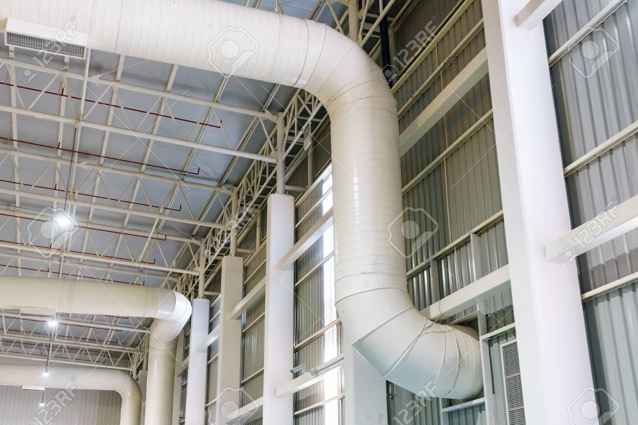 hvac duct air conditioner ventilation pipes system in white