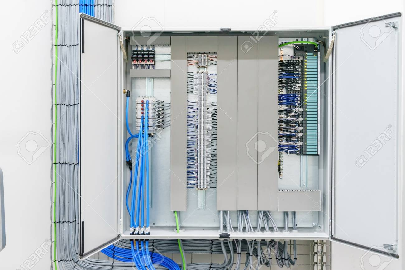 Electricity Distribution Box With Wires And Circuit Breakers Stock Fuse Vs Breaker Photo 86124406