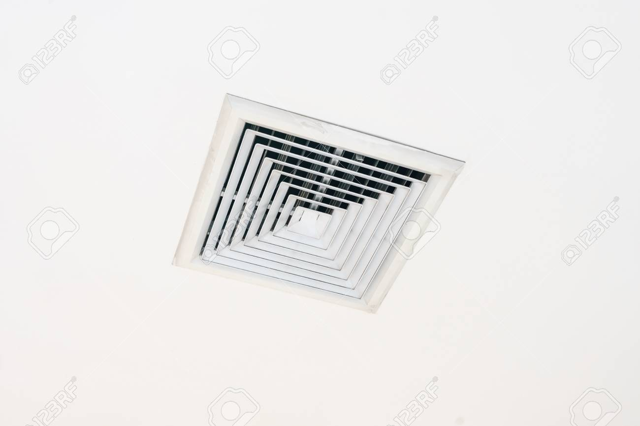 Air Conditioning, Ceiling Vents Installed On The Wall Ventilation Grille  Stock Photo   86497777