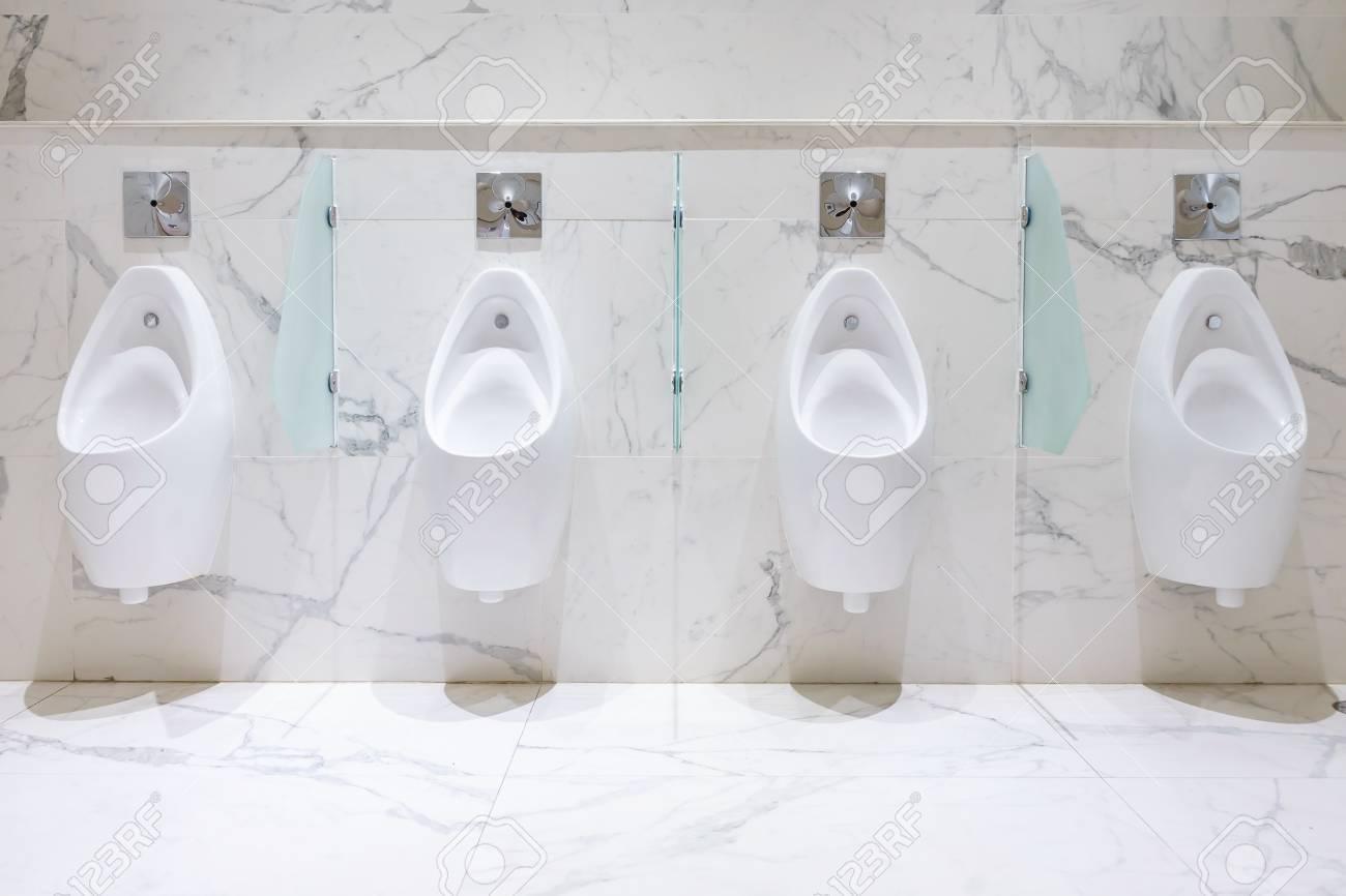 Row Of Urinals Men Public Toilet, Closeup White Urinals In Men\'s ...