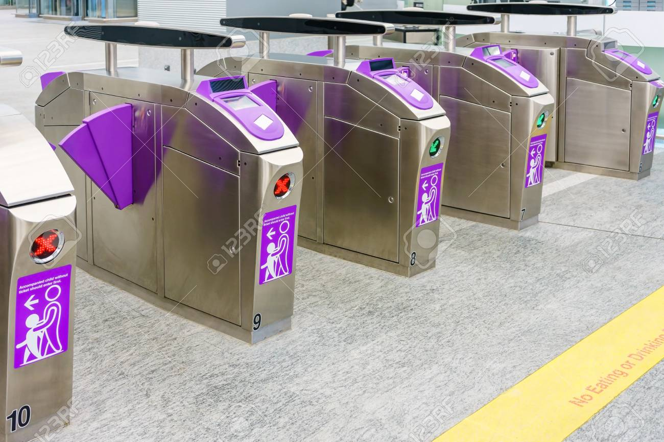 Automatic access control ticket barriers in subway station  View