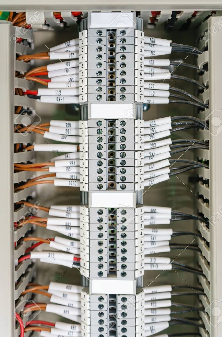 Wiring PLC Control Panel With Wires Industrial Factory Stock Photo ...
