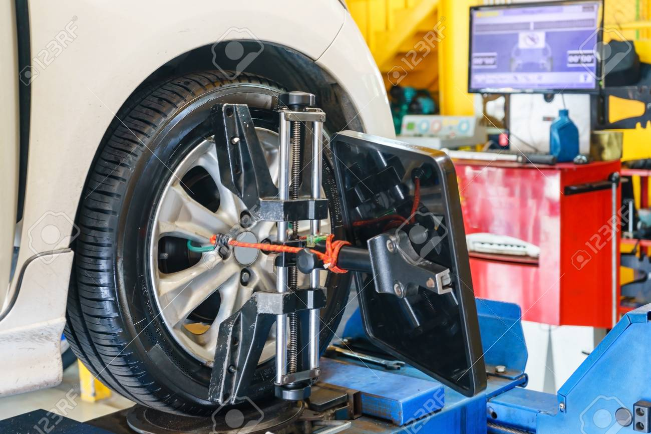 Alignment And Balancing >> Closed Up Of An Auto Wheel Wheel Alignment Balancing Tire