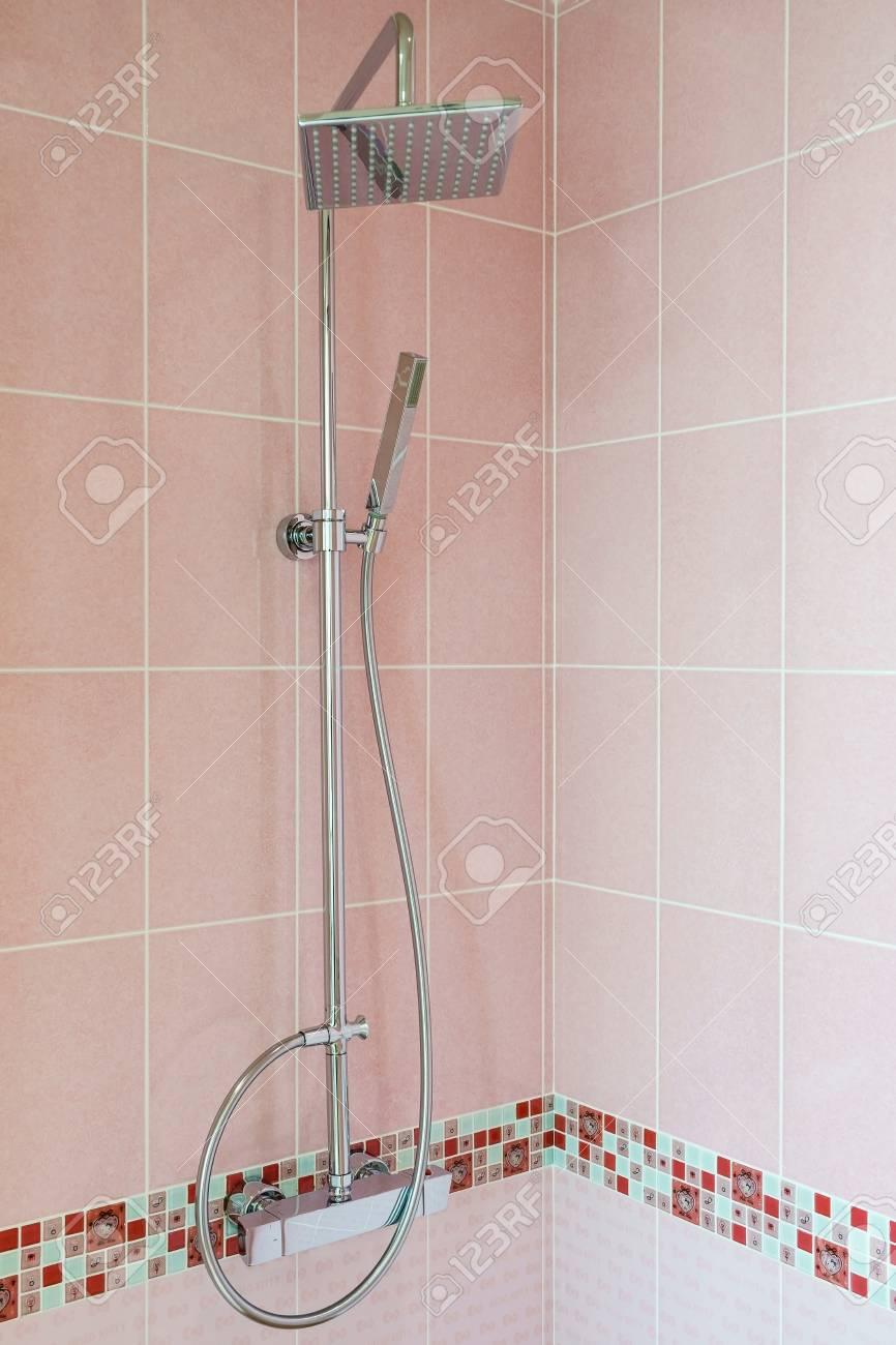 Interior of modern shower head in bathroom at home modern design of bathroom stock