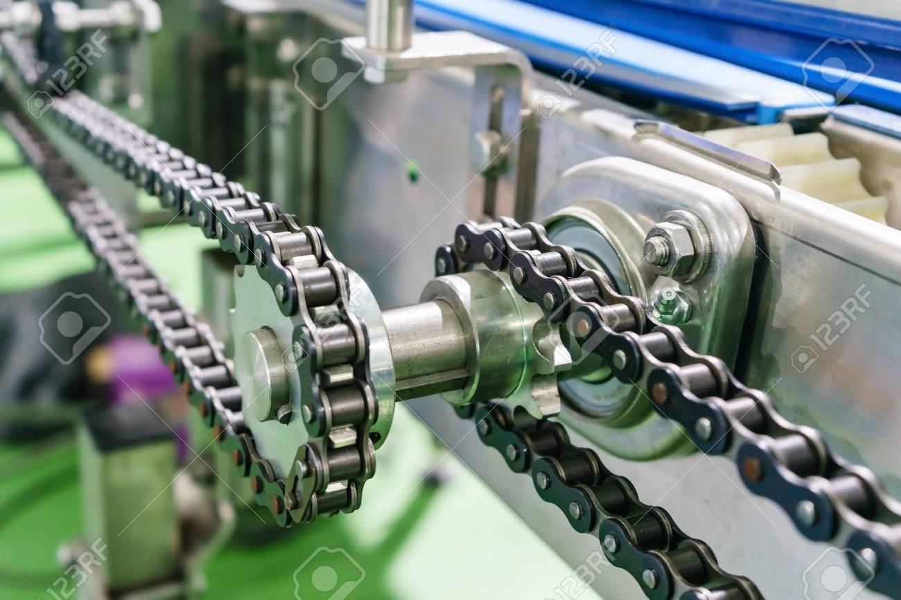 Gear and chain drive shaft in conveyor chain, and conveyor belt is on production line. - 93469615