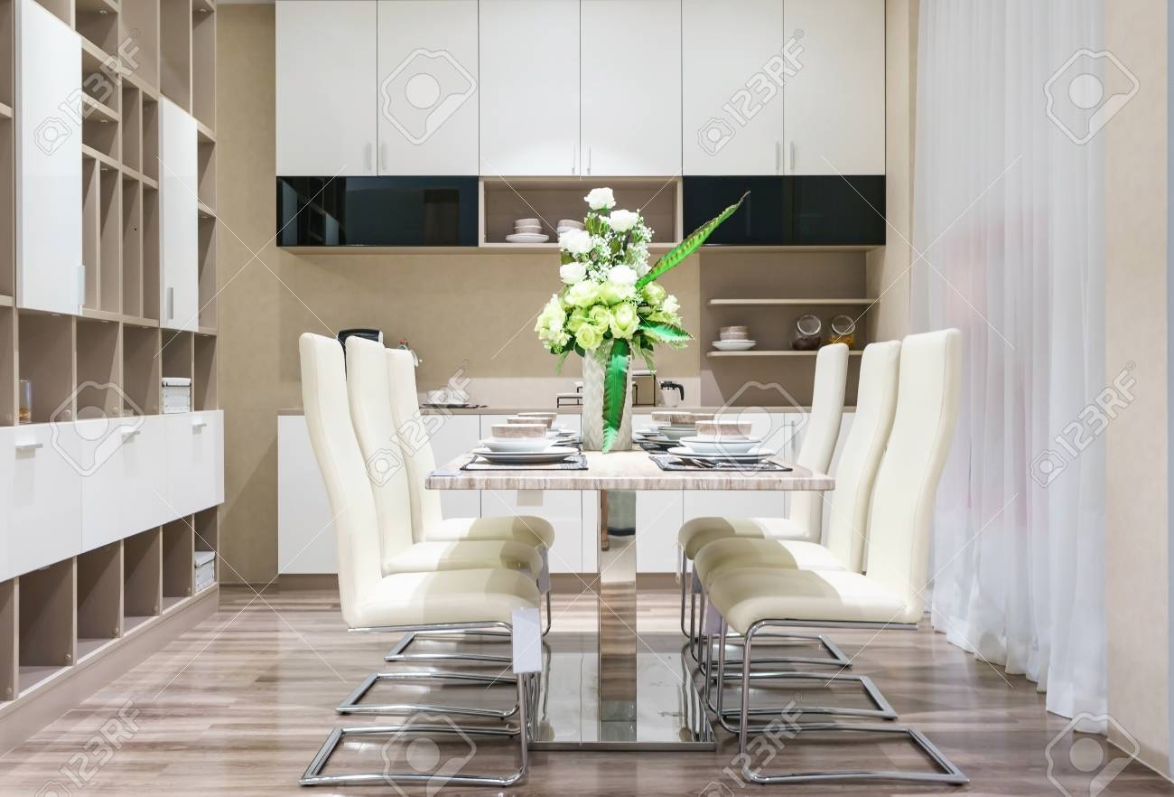 Modern Ceramic Tableware In Green Color Scheme Setting On Dining Table Luxury House Standard