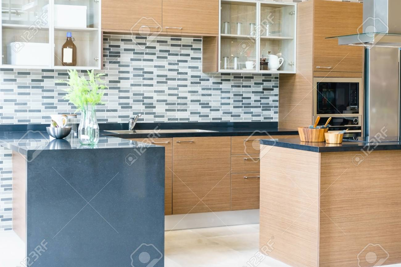 Modern, Bright, Clean Kitchen Interior With Stainless Steel ...