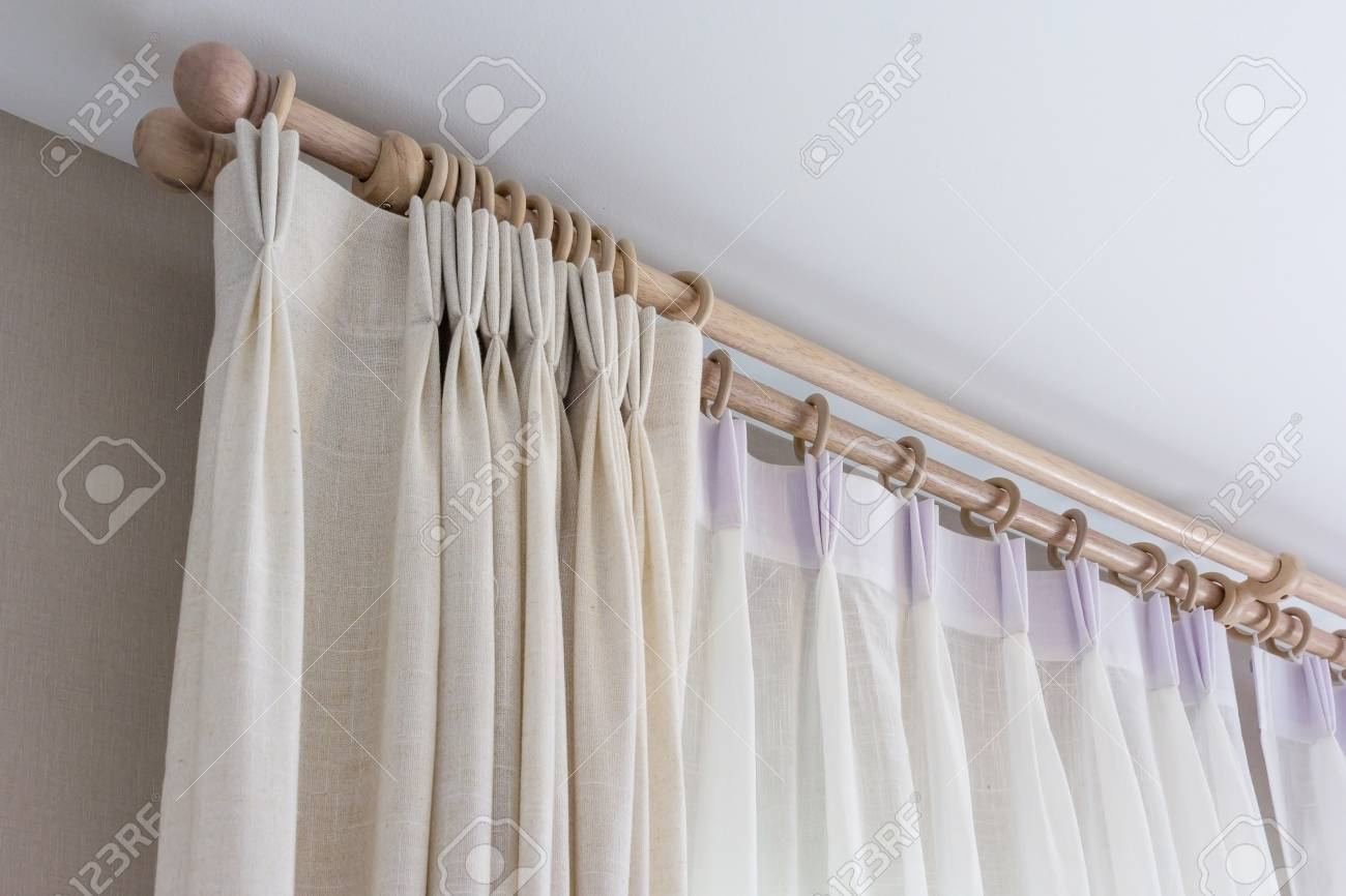 The White Curtains With Ring-top Rail, Curtain Interior Decoration ...