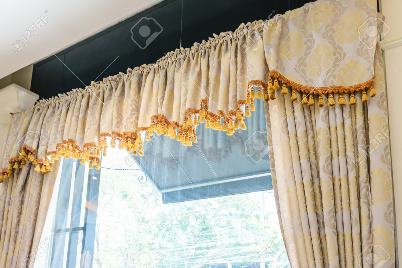 Beautiful curtains with ring-top rail, Curtain interior decoration..