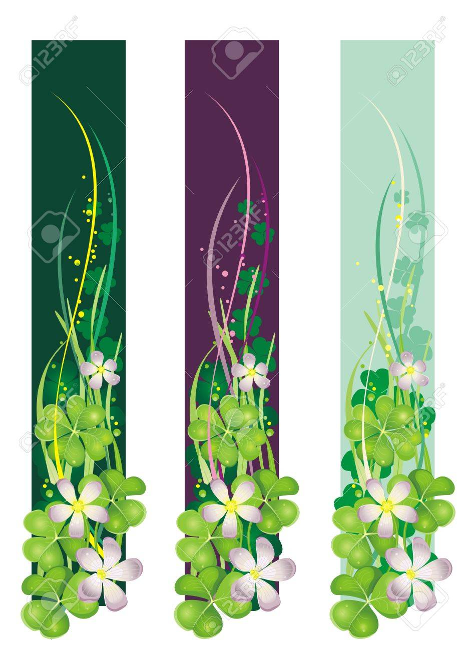Vertical Spring Banner with blooming clovers Stock Vector - 6856865