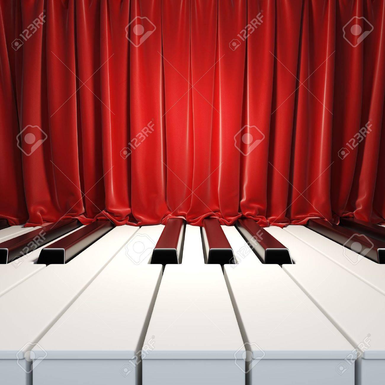 Llaves Del Piano Y Cortinas Rojas. Una Ilustración 3D De La ...