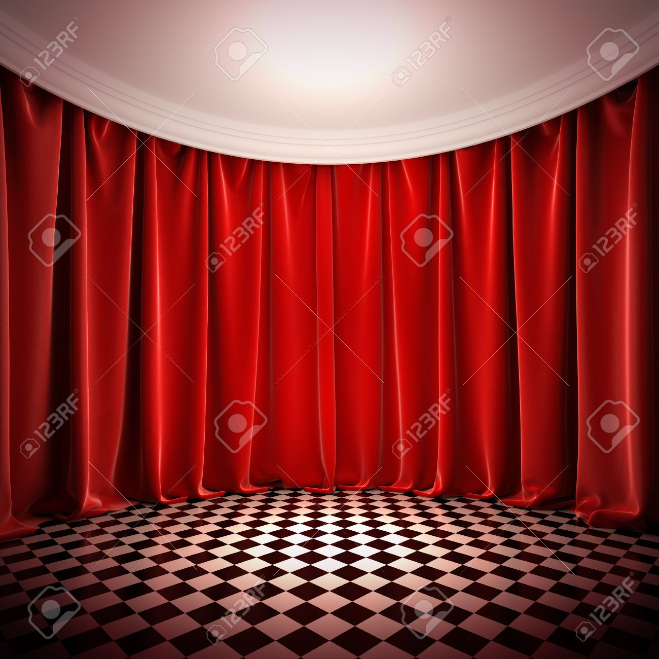 Victorian velvet curtains - Empty Hall With Red Curtains A 3d Illustration Of Empty Stage In Victorian Style