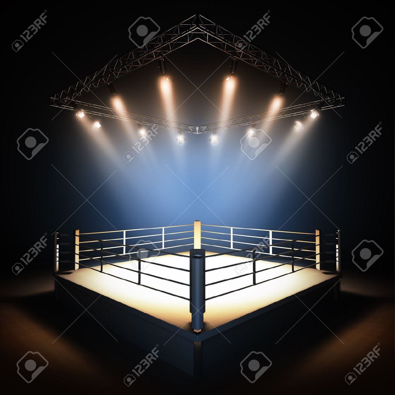 A 3d render illustration of empty professional boxing ring with illumination by spotlights. - 46948297