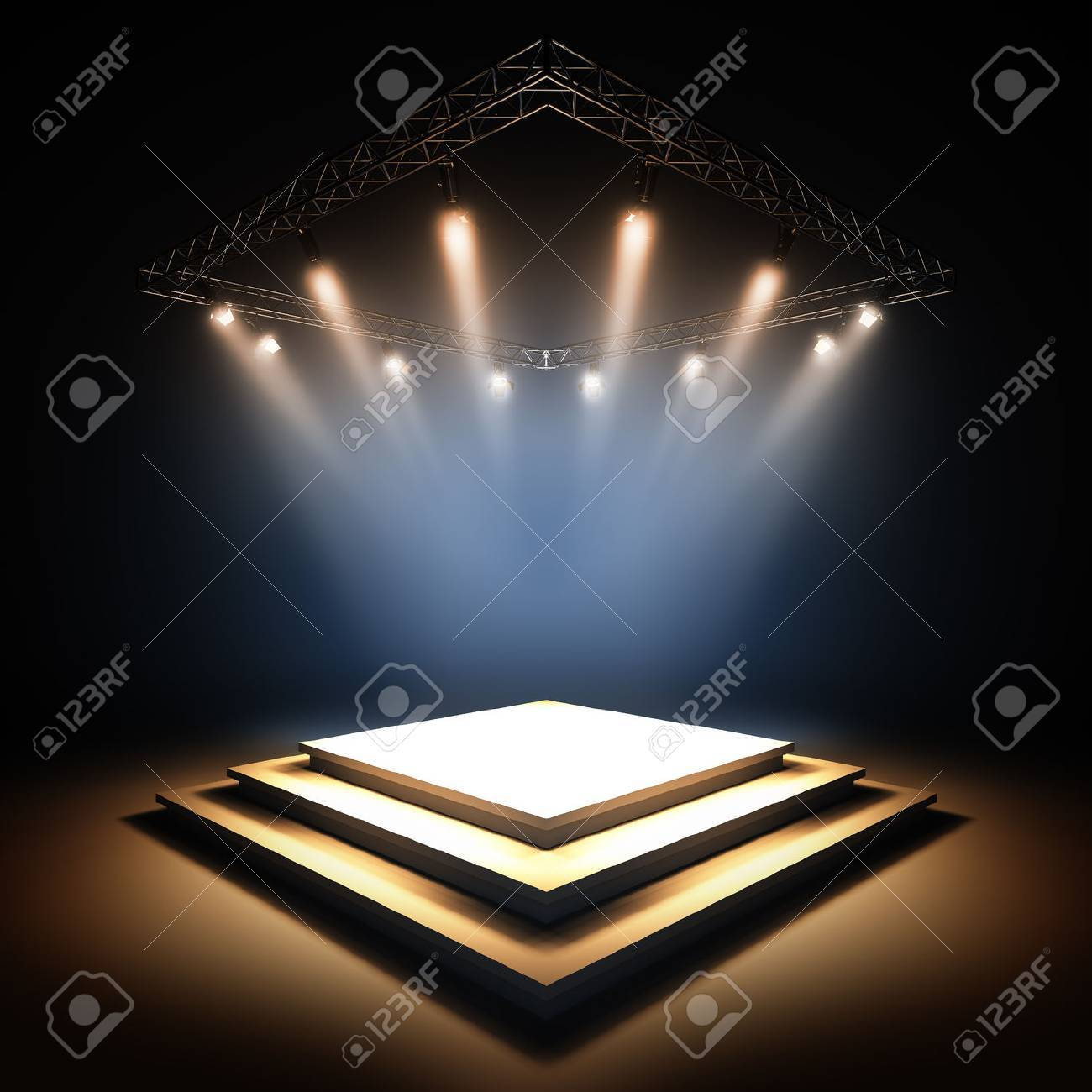 3d Render Illustration Blank Template Layout Of Empty Stage ...