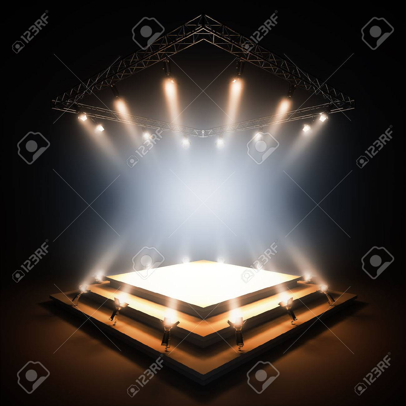 3d render illustration blank template layout of empty stage