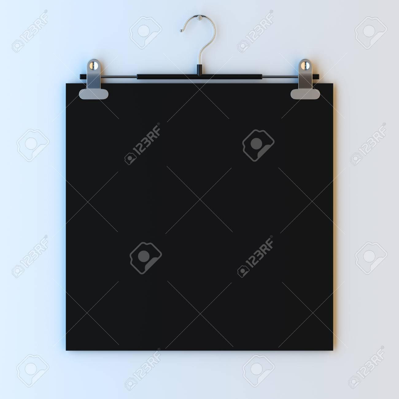 3d Abbildung Mockup Von Leeren Papier Rahmen Auf Kleiderbügel Clips ...