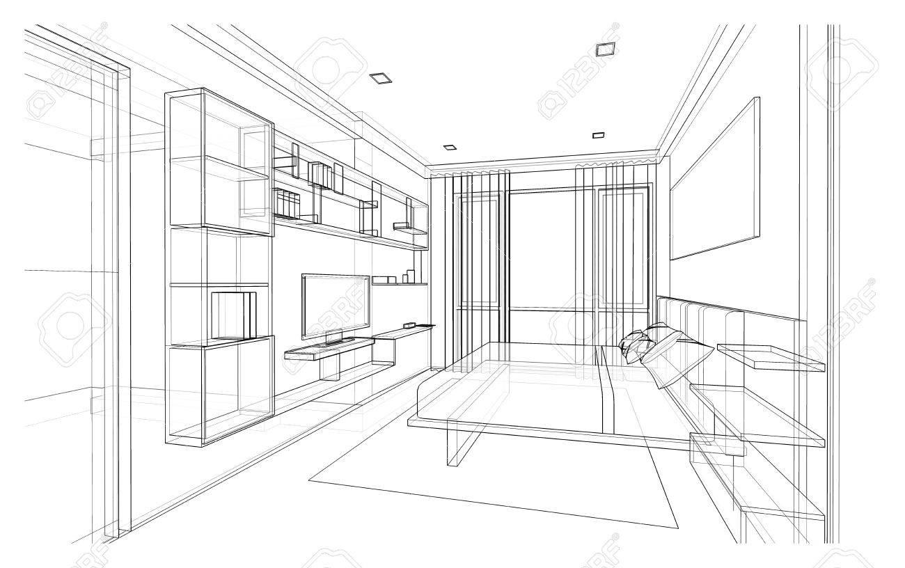 Conception d\'intérieur de la chambre de style moderne, croquis de cadre en  fil 3D, perspective