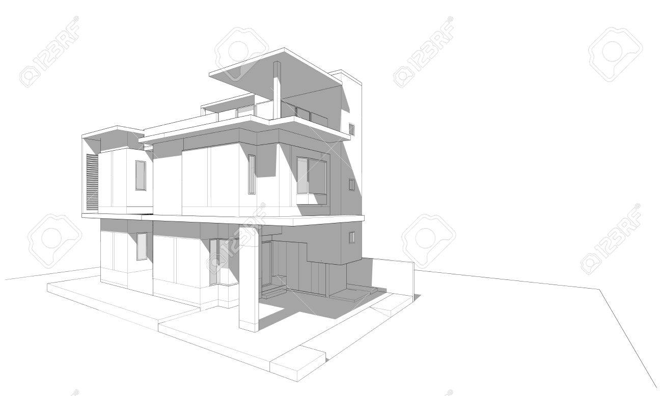 3 Story Building Sketch With Shade And Shadow, Architectural Design, 3D  Rendering Stock Photo