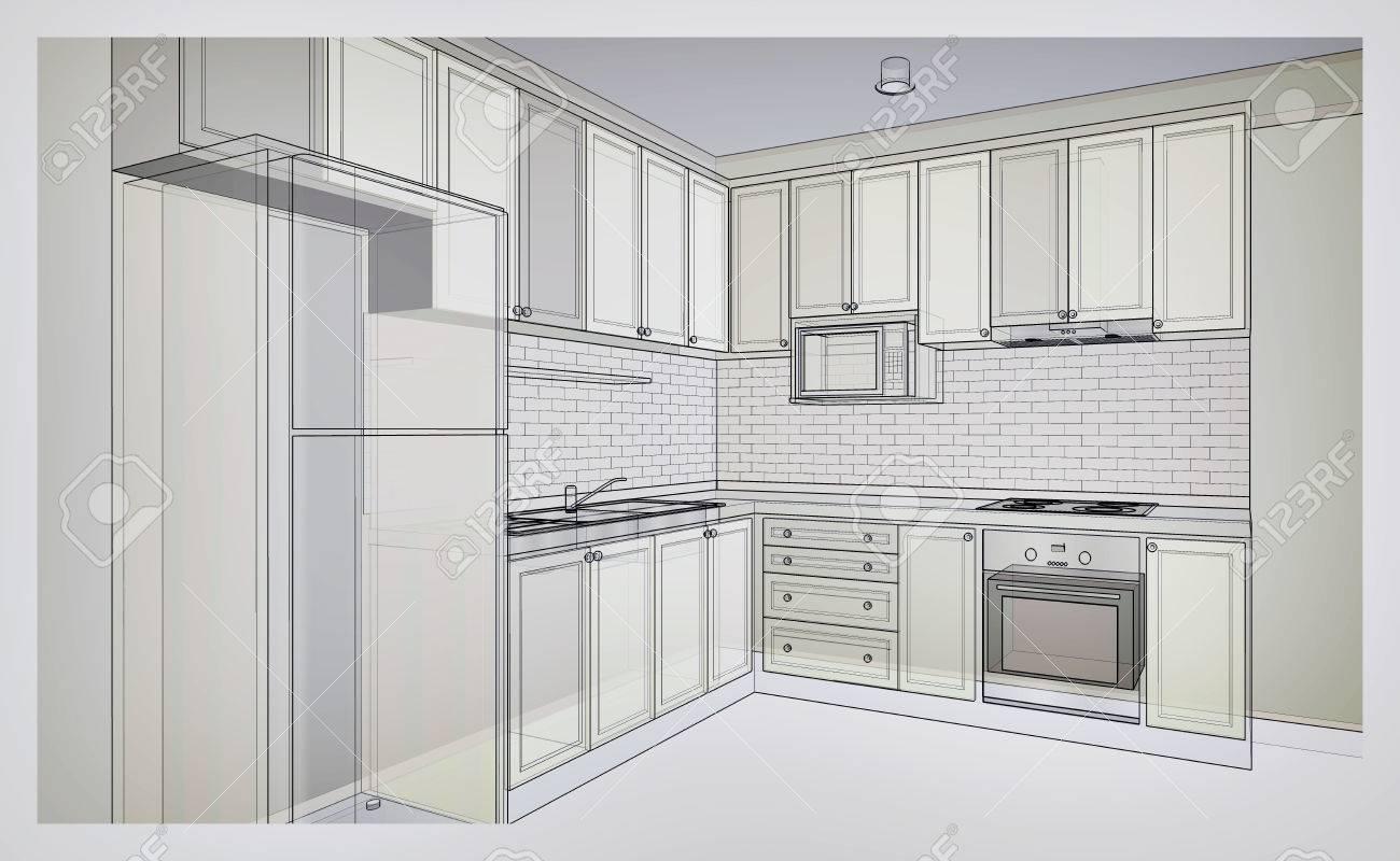 Diseño interior de cocina de estilo rústico, 3D bosquejo del marco de  alambre, la perspectiva en el color de tono gris