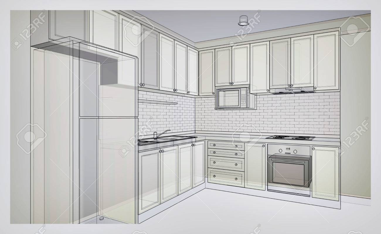 Innenarchitektur Des Landartküche, 3D-Drahtrahmen Skizze ...
