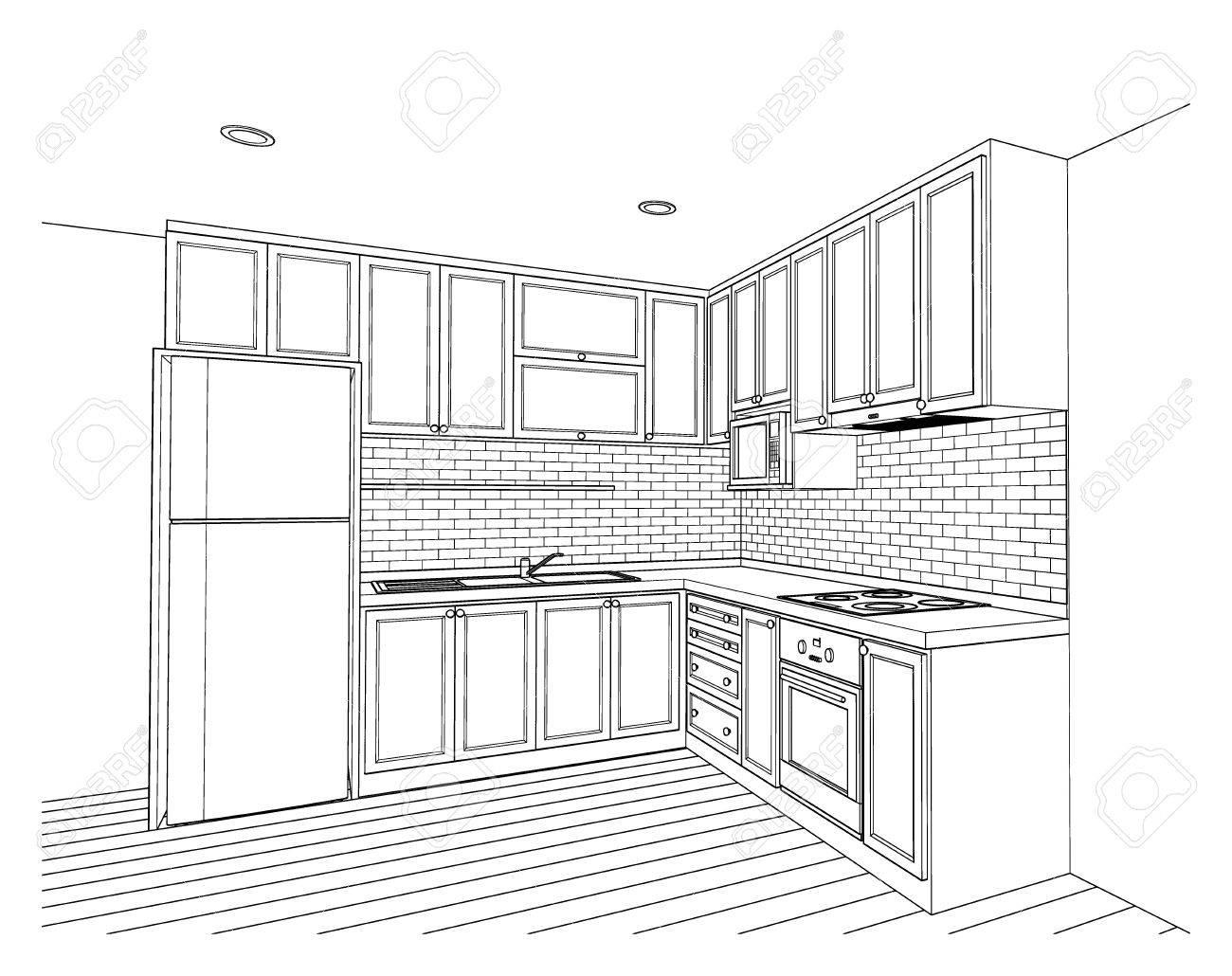 Innenarchitektur Des Landartkuche 3D Grundriss Skizze Perspektive Standard Bild