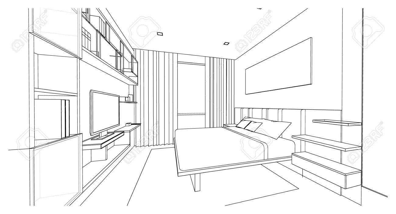 Captivating Interior Design Of Modern Style Bedroom, 3D Outline Sketch, Perspective  Stock Photo   65989601