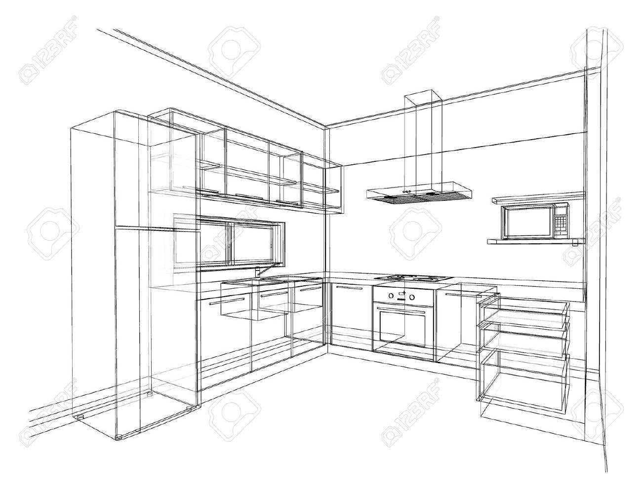 Interior design of modern style kitchen, 3D wire frame sketch, perspective - 65989605