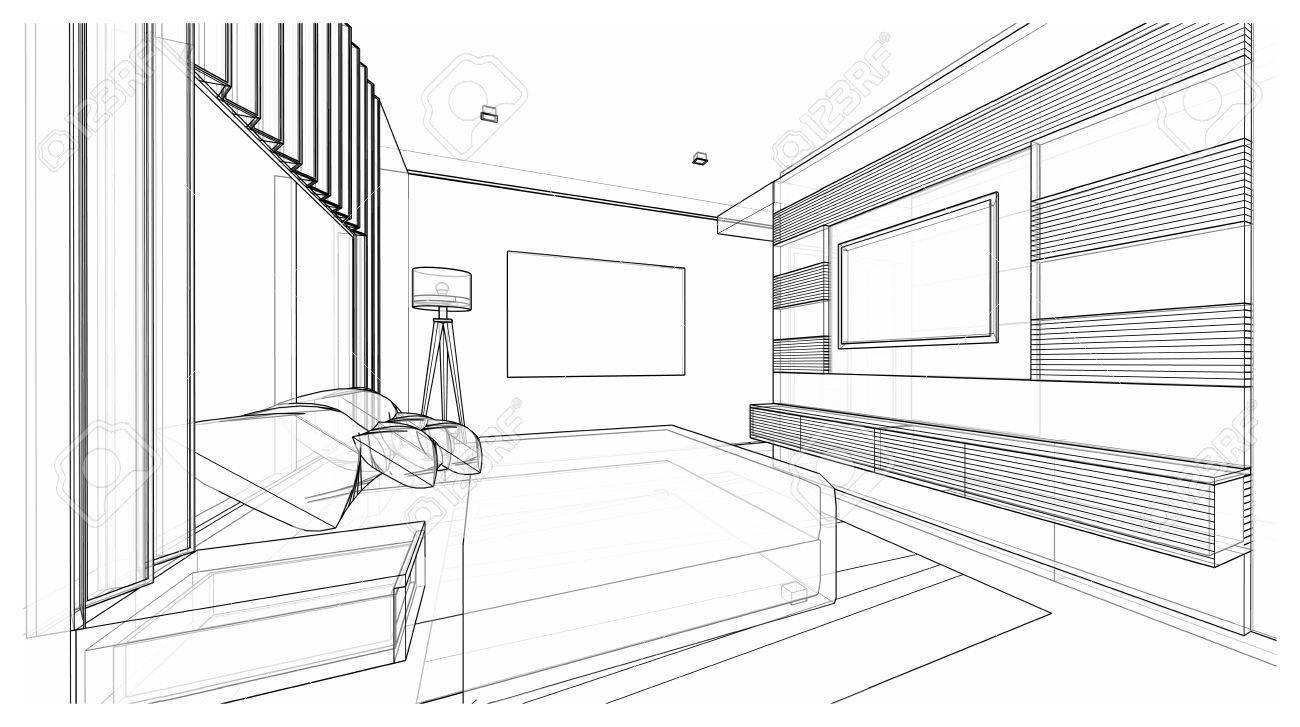 Interior Design Of Modern Style Bedroom, 3D Wire Frame Sketch ...