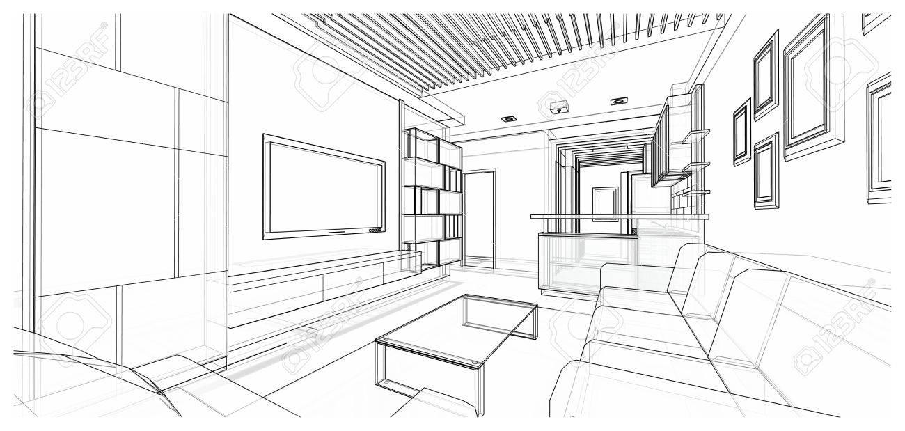 interior design of living area, 3d sketch design, illustration stockillustration interior design of living area, 3d sketch design, illustration