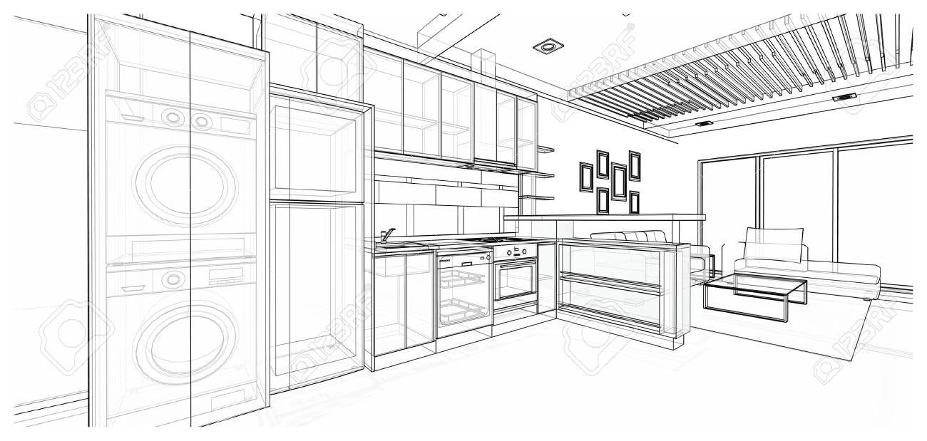 Interior design of modern style kitchen 3d wire frame sketch perspective stock photo