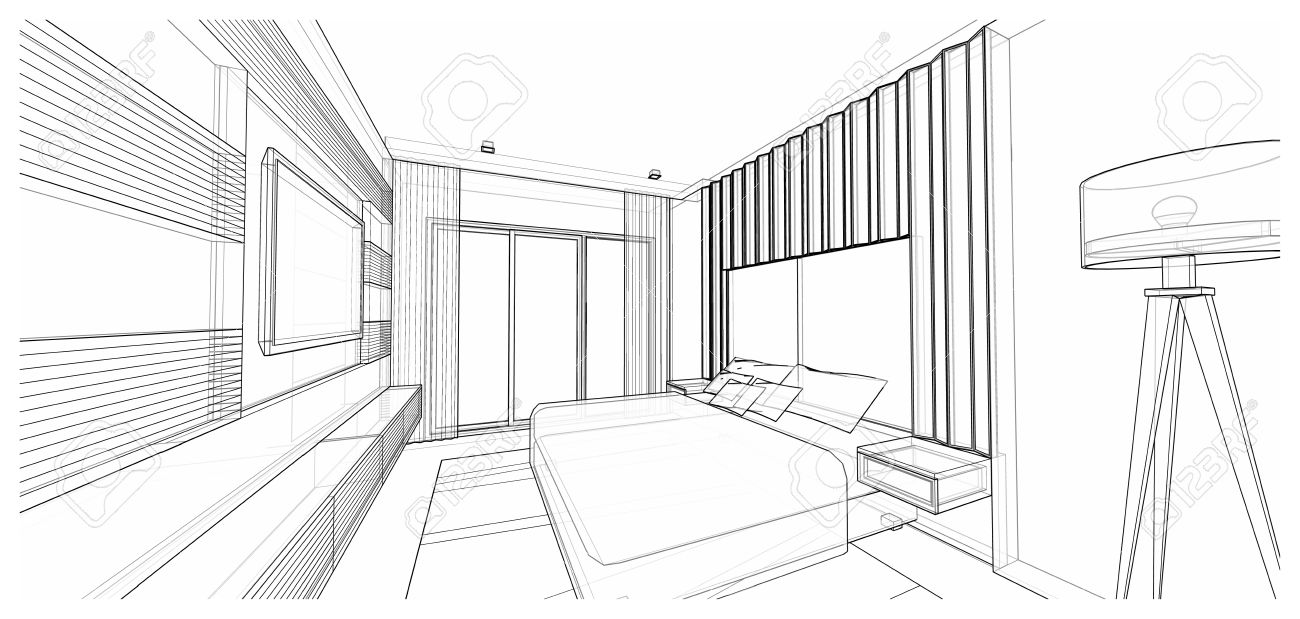 Modern bedroom perspective drawing - Interior Design Of Modern Style Bedroom 3d Wire Frame Sketch Perspective Stock Photo