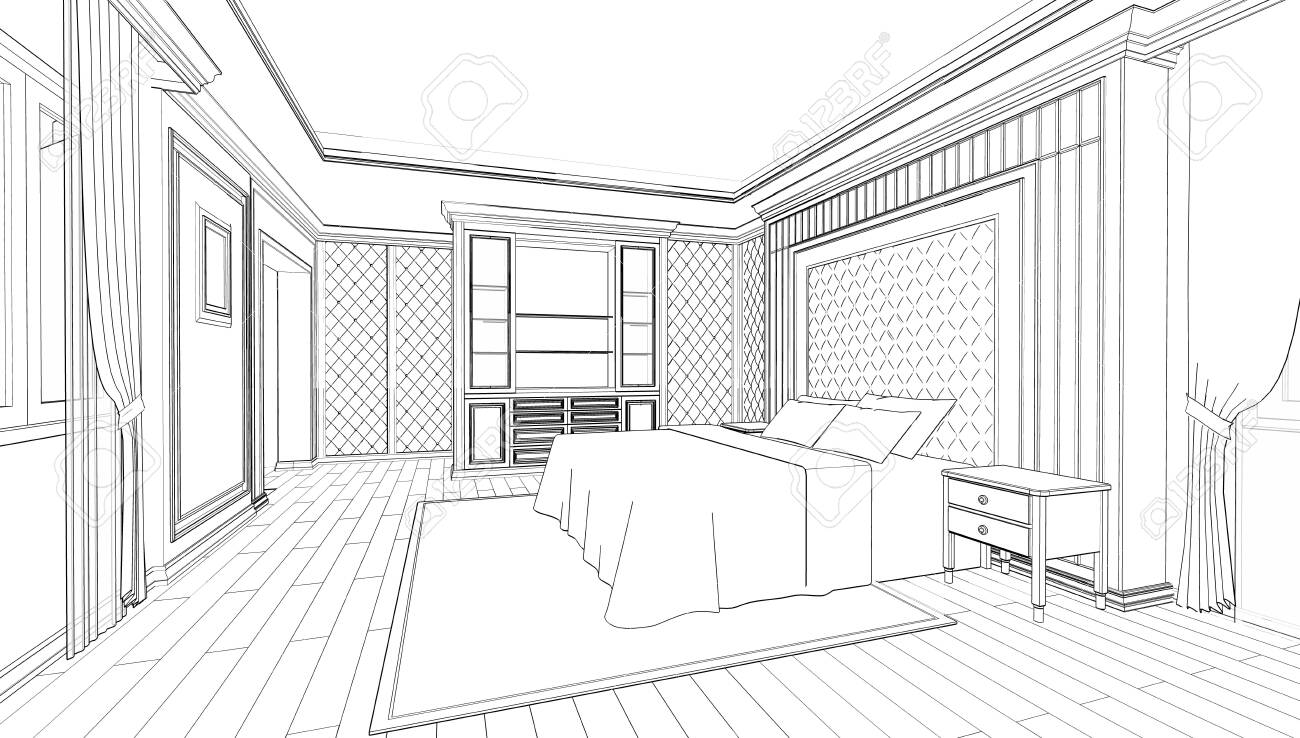 Interior Design Of Modern Classic Style Bedroom 3d Outline Sketch Stock Photo Picture And Royalty Free Image Image 134729844