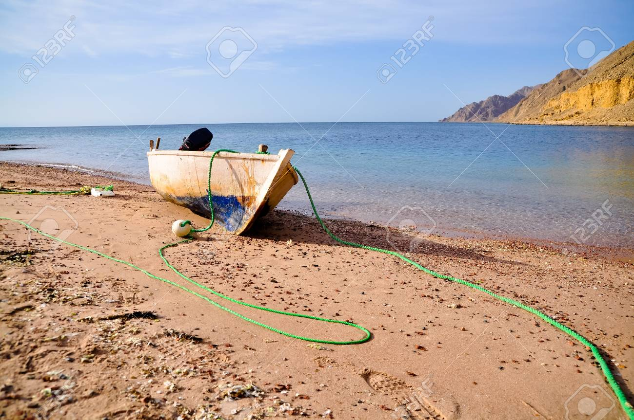 Old fisherman boat at the beach  Panorama Stock Photo - 14887595