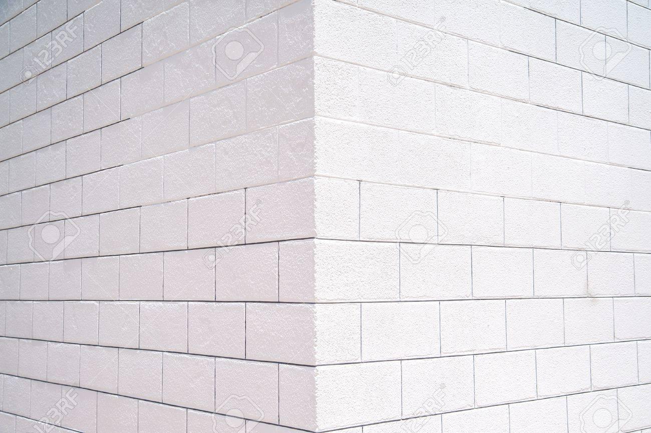 Background Of The White Brick Wall Corner
