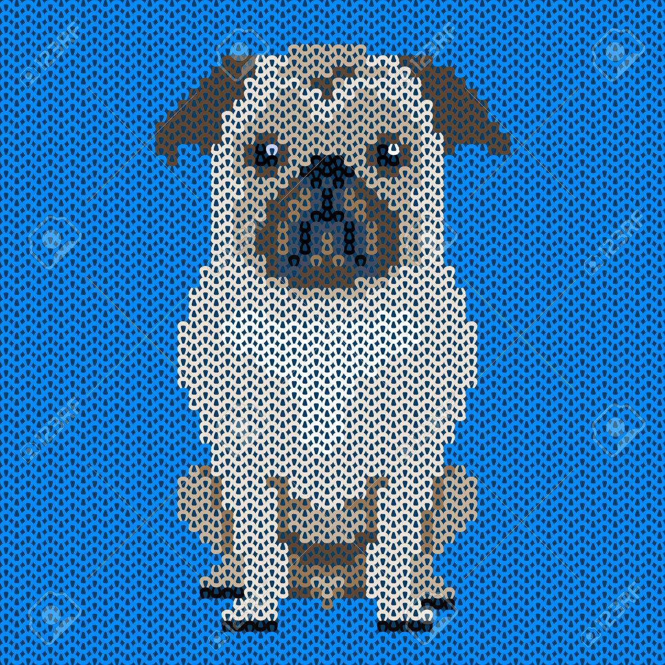 Vector Knitted Dog Pattern.Pug-dog On Blue Background. Illustration ...