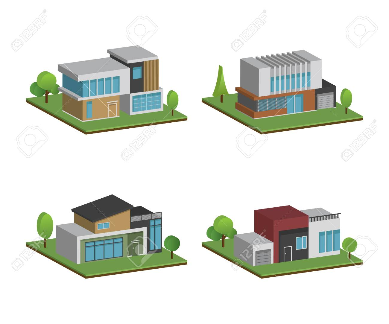 Set of isometric four houses and modern houses design 3d modern building and architecture with