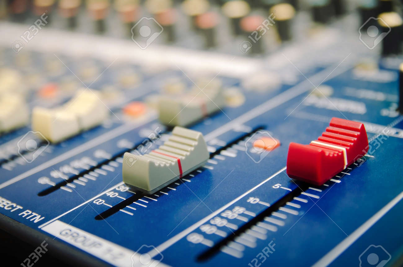 Audio mixer console and professional sound mixing. Audio mixer control panel with buttons and sliders. Mixer console for musician DJ and sound engineers. - 158675166