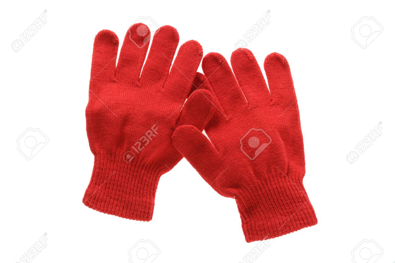 Red Knitted Cloth Kid Gloves With Pattern Isolated On White.. Stock ...