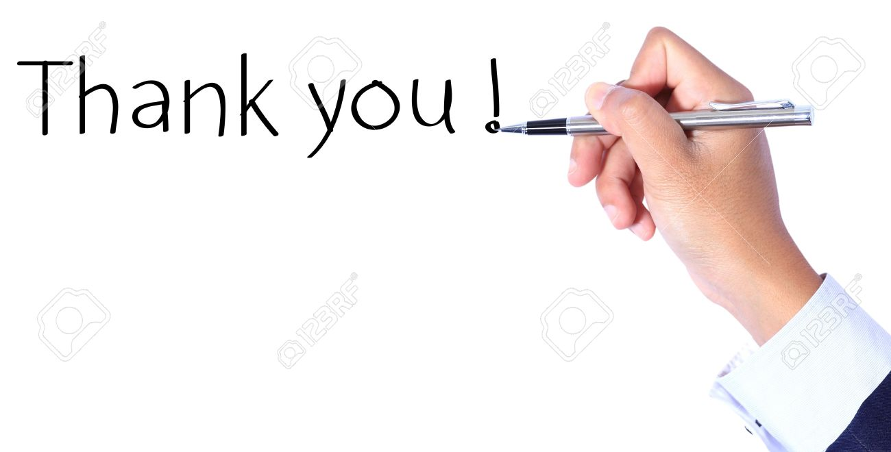 Business hand, writing thank you Stock Photo - 14873229