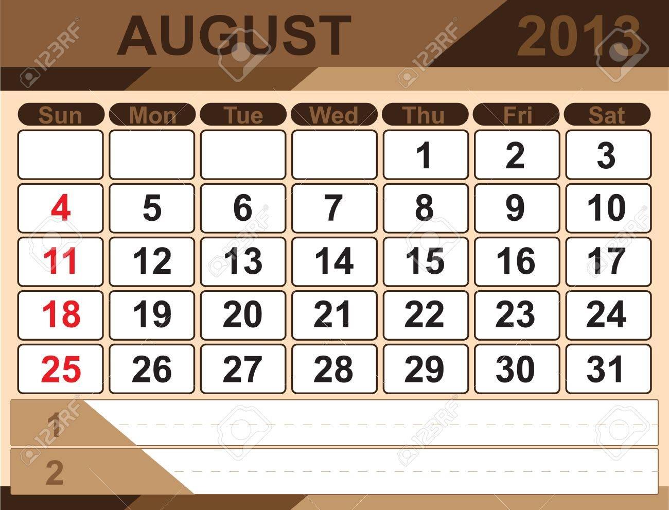 Vector calendar AUGUST 2013 Stock Vector - 16255324